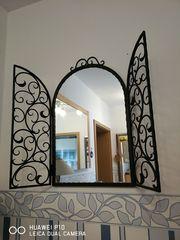 Schmiedeeiserne Garderoben Spiegel Lampen Set