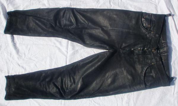 Lederjeans Lederhose schwarz gebraucht Gr