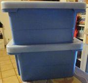 2 Stapel-Boxen mit Deckel blau