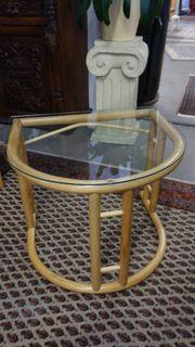 Beistelltisch Rattan mit Glasplatte