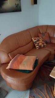 Ledergarnitur mit Sessel