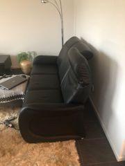 Ledercouch 3-Sitzer mit zwei Leder-Liegesesseln