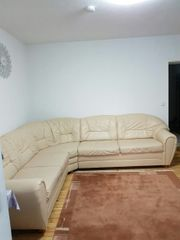 Eck Couch echter Leder beige