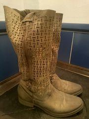 Echt Leder Stiefel Bronze Gold