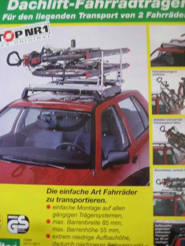 Dachlift-Fahrradträger für den liegenden Transport