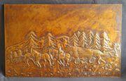 Kupfer-Bild Handarbeit bezogene Holzplatte im