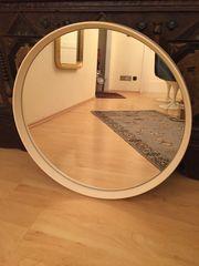 Spiegel rund mit weissem Kunststoffrahmen