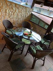 Sitzgruppe mit Glastisch 5 Stühle