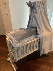 Babywiege Babybett - neuwertig weiß BIO