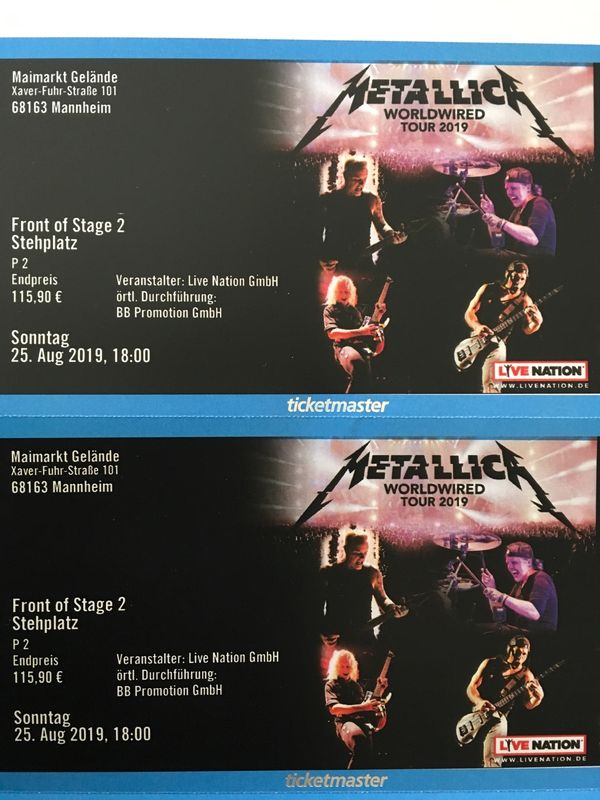 2 Metallica FOS 2 Tickets