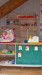 Kaufladen Holz mit Tafel Kasse