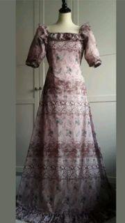 Rosa Blütekleid mit Reißverschluss Gr