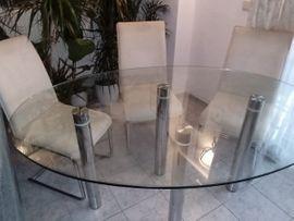 Esstisch Glas mit verchromten Füßen