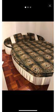 Bett rund weiss tiger