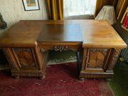 Schreibtisch aus Eiche massiv Leder