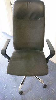 Bürodrehstuhl mit Armlehnen schwarz grau