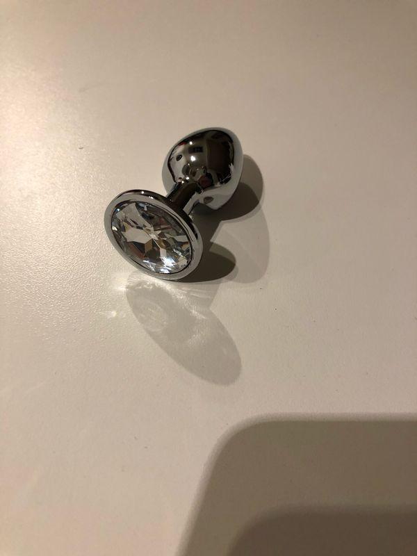 Metall Plug Silber klarer Stein