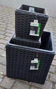 3er Set Pflanzgefäße Rattan-Optik Neu
