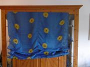 Raffrollo blau mit Sonnenblumen 120
