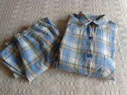 Vintage Damen Schlafanzug Pyjama blau-kariert