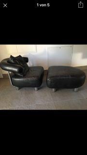 Einzigartiger Sessel schwarz Echtleder