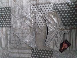 Fetisch Ausstattung - Hotpants und Bikini-Oberteil silber metallic