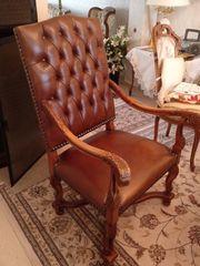 Massiver Lederstuhl Herren-Zimmer-Stuhl Art Chesterfield