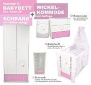 Babybett Wickelkommode Kleiderschrank-Herzen Rosa NEU