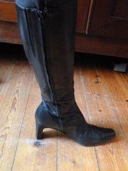 Schwarz Leder Stiefel Schuhe
