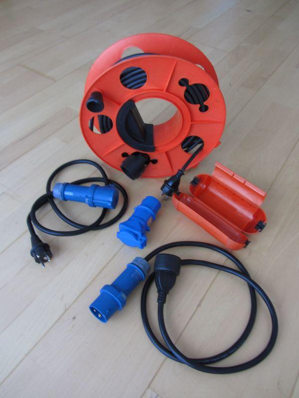 Kabeltrommel mit 20m Kabel , CEE-Stecker Schuko-Kupplung , 2 Adapterkabel , Steckerbox