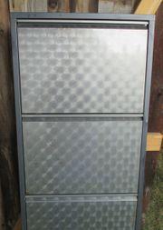 Schuhschrank Schuhkipper Metall Silber