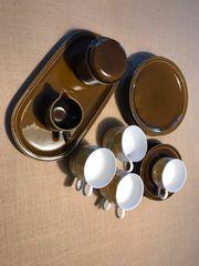 Melitta Kaffeeservice braun weiß-geblümt