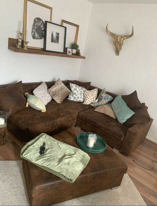 Sofa Couch Ecksofa Antikleder Optik