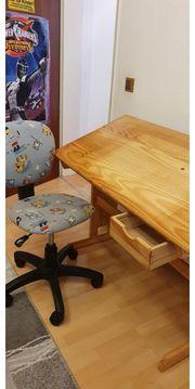 Kinderschreibtisch Vollholz Stuhl