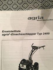 Ersatzteilliste Agria Einachschlepper Typ 2400