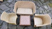 Gartenmöbel Polyrattan Bank 2 Stühle