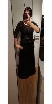 schwarzes Kleid lang Ballkleid Spitze