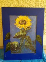 Sonnenblumenbild mit Holzrahmen
