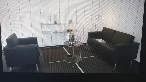 Sofa schwarzes Kunstleder mit passendem