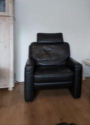 Schnäppchen Ledersofa mit Sessel und