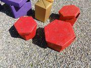 48 rote 6eckige Schachteln-handgeschöpftes Papier-je