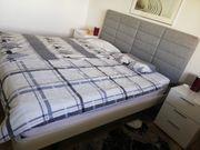 Schlafbett weis grau mit Lattenrost