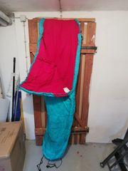 Mumienschlafsack Türkis Rot Doppel-Reißverschluss Linksseitig