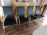 4 Esszimmer Stühle Verchromtem Gestell