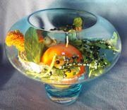 Neuer Glaspokal bleu mit Deko -
