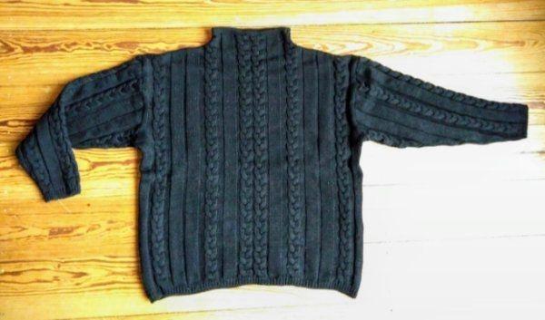 Herren Merino-Grobstrick-Pullover mit Zopfmuster schwarz