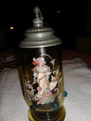 antiker Glas-Bierkrug mit Zinndeckel 1885