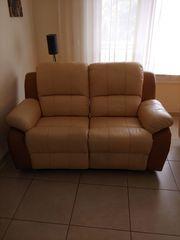 Leder Relax Fernsehsofa beige-braun