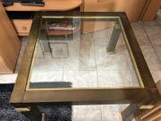 80er Jahre Glastisch mit Messing