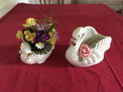 Blumentopf Schwanen-Set Porzellan